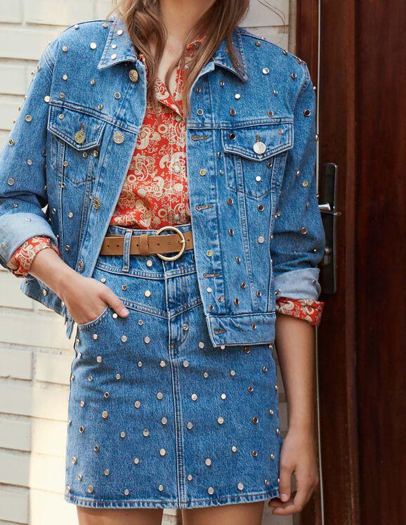 Denim Jacket Trimmed With Studs : Coats & Jackets color Blue Jean