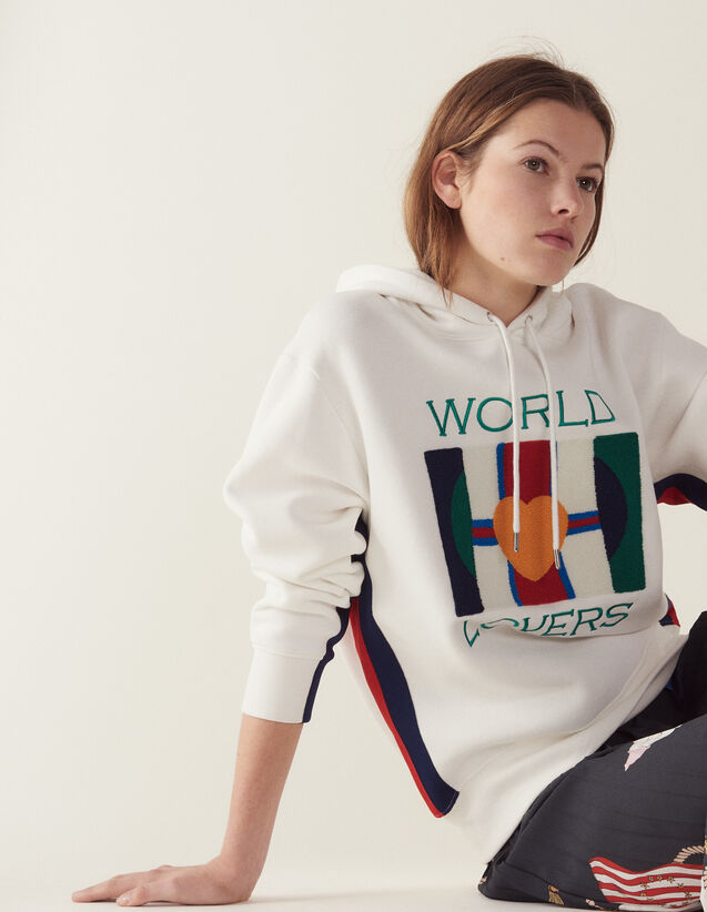 Sweatshirt With Embroidery And Flocking : Sweaters color white