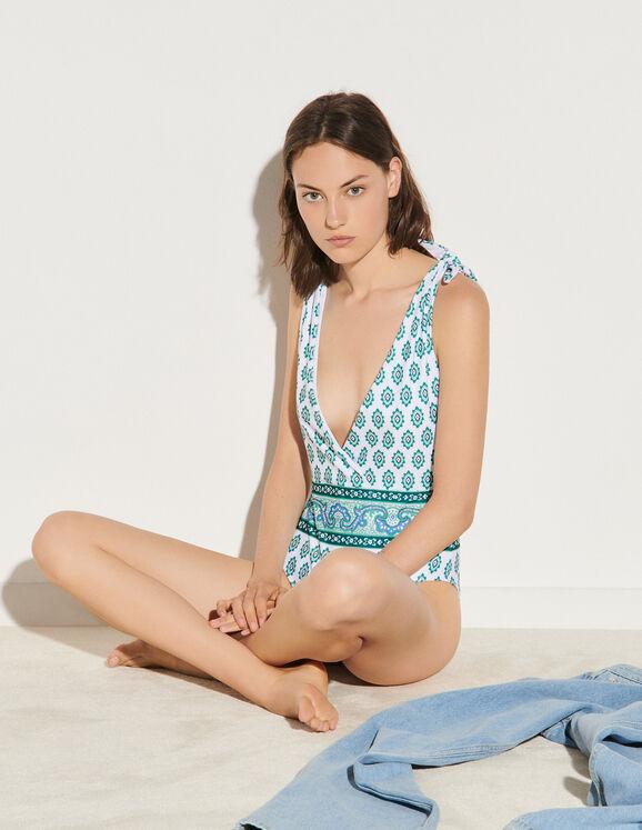 Sandro Tie-fastening printed swimsuit