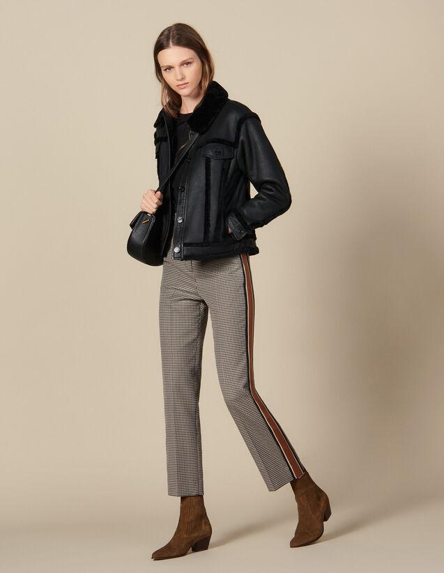 Straight-leg checked pants : Pants & Shorts color Brown