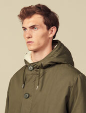 Cotton parka with faux sheepskin lining : Coats color Olive Green