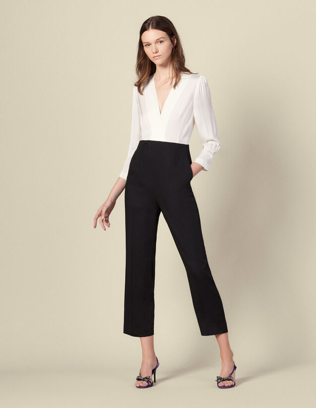 Dual material jumpsuit : Jumpsuits color Ecru/Black