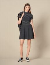 Knit knit dress trimmed with studs : Dresses color Mocked Grey