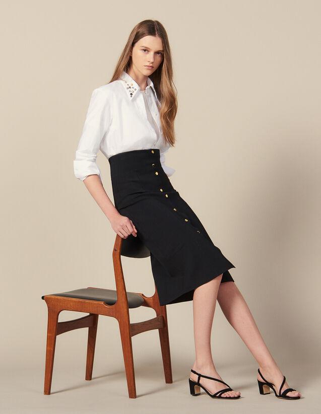 Long, Figure-Hugging Knit Skirt : Skirts color Black