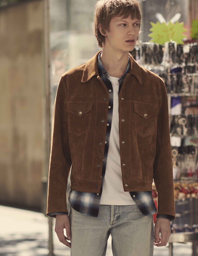 Split Leather Trucker Jacket : Coats & Jackets color Camel