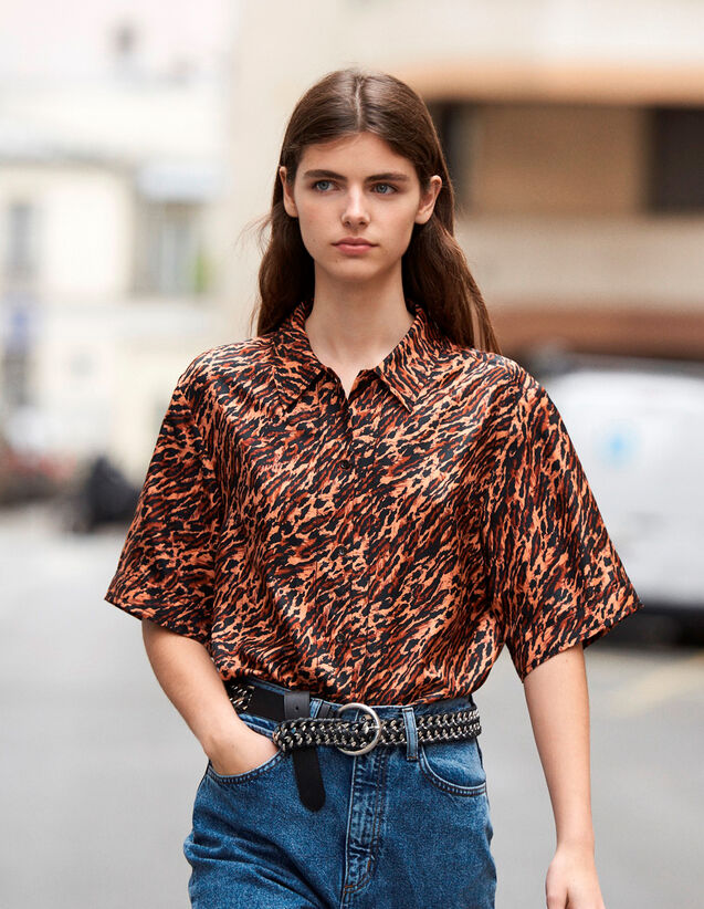 Printed Silk Twill Shirt : Tops & Shirts color Brown