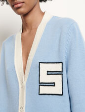 Varsity-style wool cardigan : Sweaters & Cardigans color Blue sky