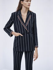 Matching Striped Blazer : Coats & Jackets color Navy Blue