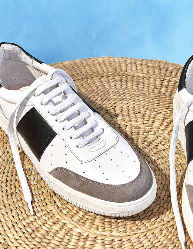 Two-Tone Leather Sneakers : Shoes color white