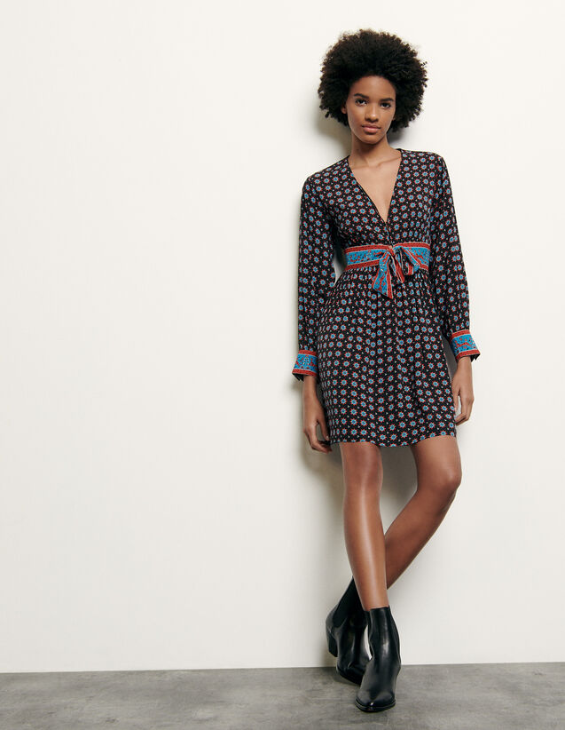 Printed short silk dress : Spring Pre-Collection color Black