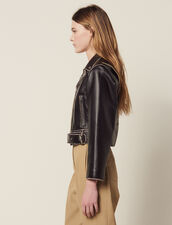 Short Biker Jacket : Jackets color Black