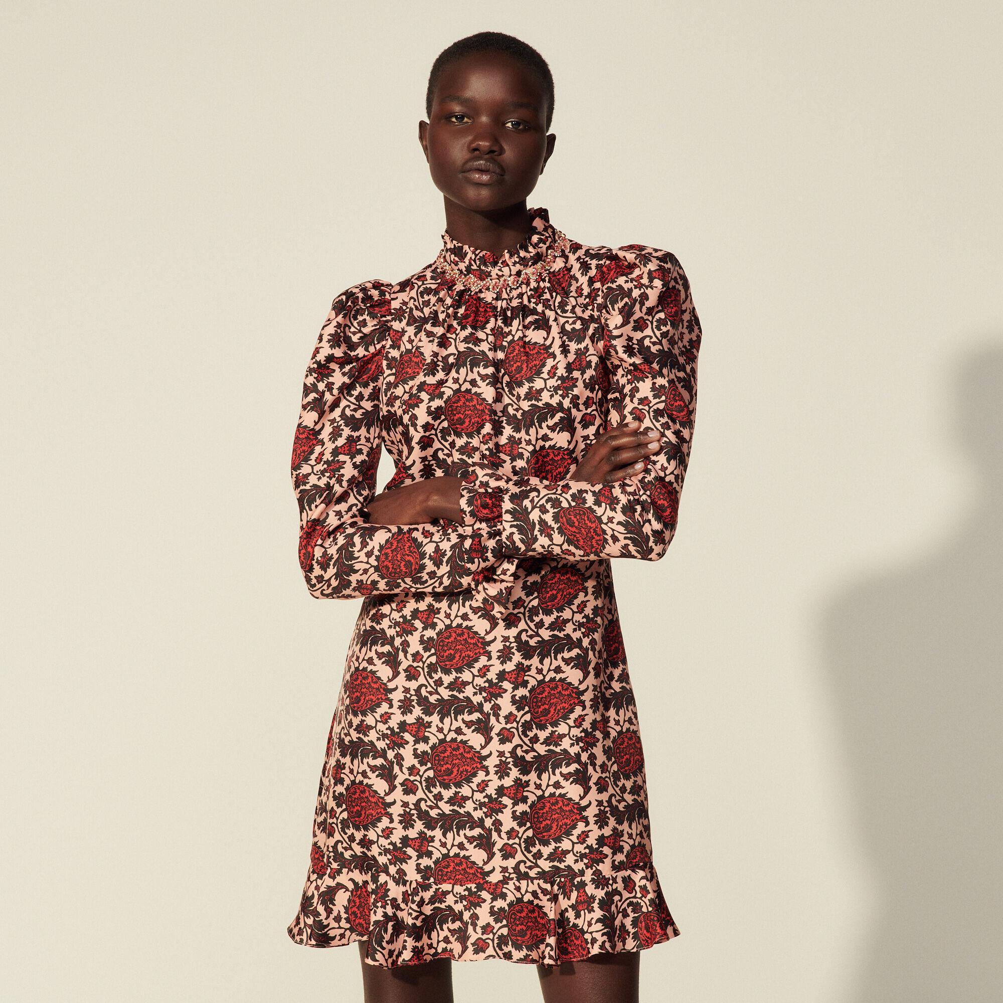 Sandro Short printed silk blend dress