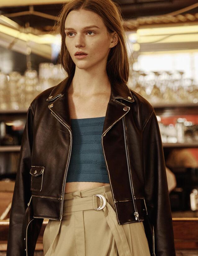 Short Biker Jacket : Coats & Jackets color Black