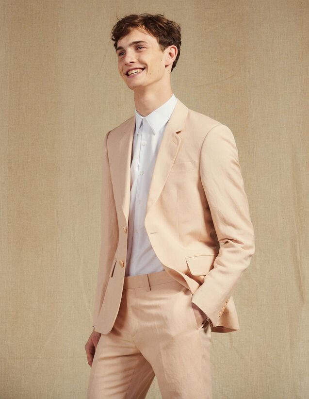 Linen Blend Suit Jacket : Suits & Blazers color Light pink