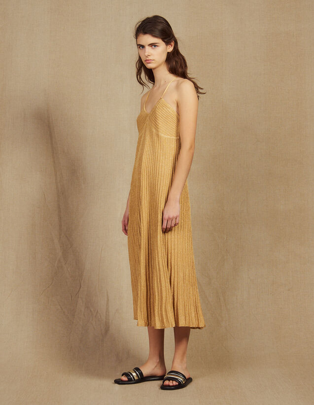 Long Dress In Pleated Lurex Knit : Dresses color Gold