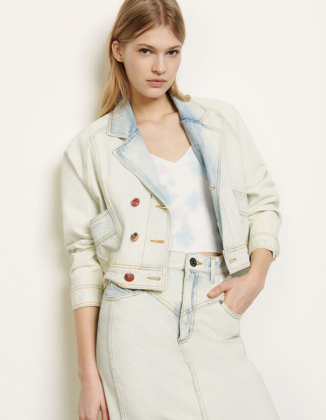 Washed denim jacket : Spring Pre-Collection color Bleu Denim