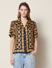 Short-Sleeved Printed Shirt : Tops & Shirts color Navy Blue