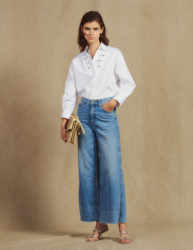 Wide Leg Jeans : Jeans color Blue Vintage - Denim