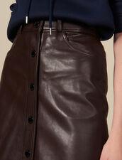 Midi Leather Skirt : Skirts color Brown