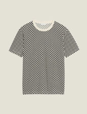 Chequerboard Cotton T-Shirt : T-shirts & Polos color Black