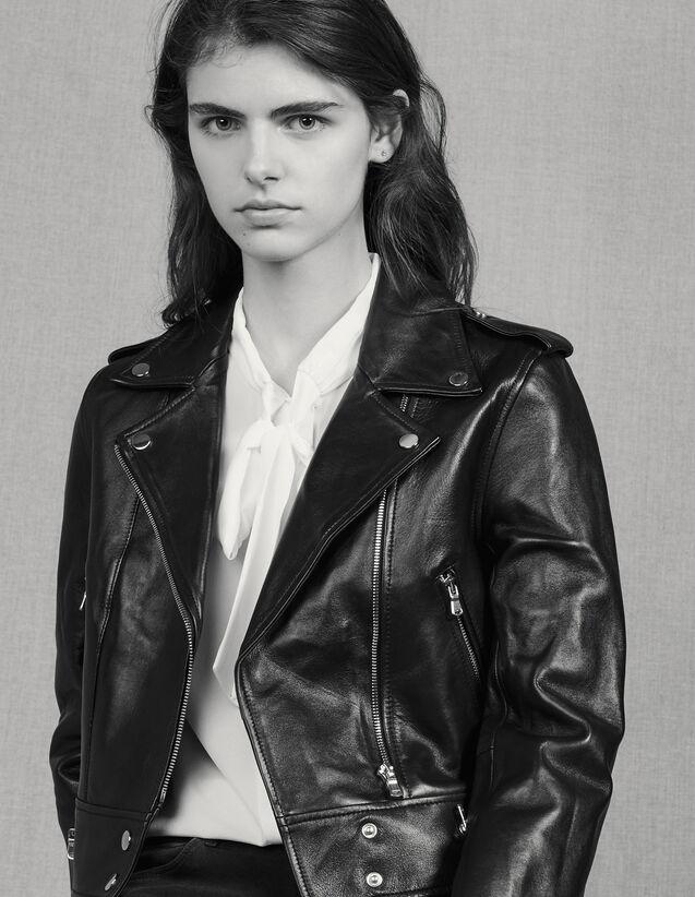 Short Leather Jacket : Jackets color Black