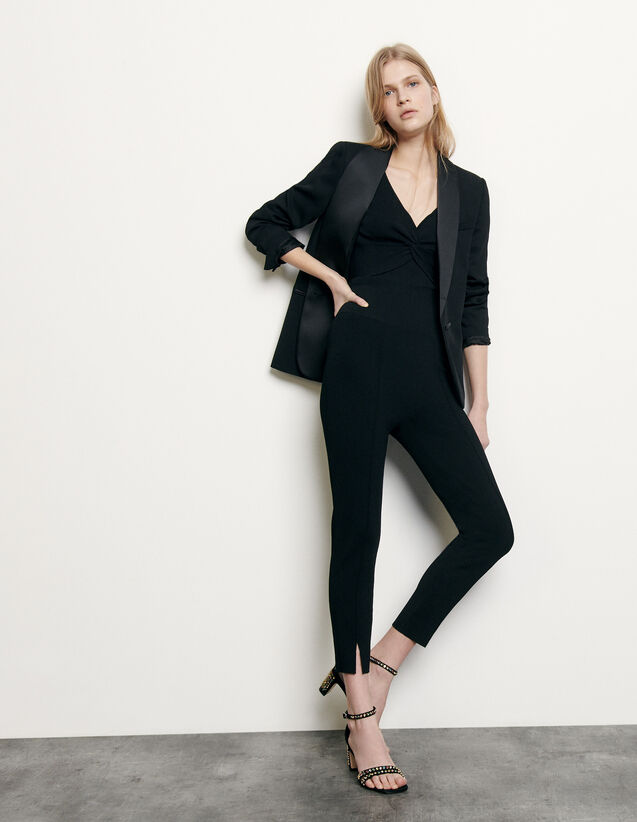 Knit leggings with small slits : Spring Pre-Collection color Black