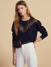 Sweater With Lace Insert : Sweaters color Navy Blue