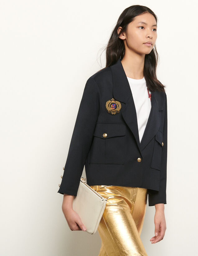 Short tailored jacket with patch : Spring Pre-Collection color Navy Blue