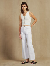 High-Waisted Flared Jeans : Jeans color white