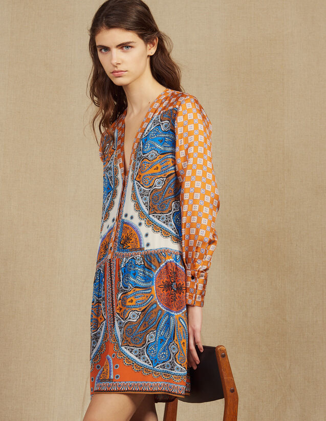 Short Printed Shirt Dress : Dresses color Multi-Color