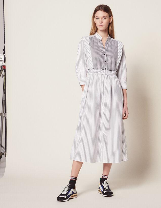 Striped Cotton Midi Dress : Dresses color white