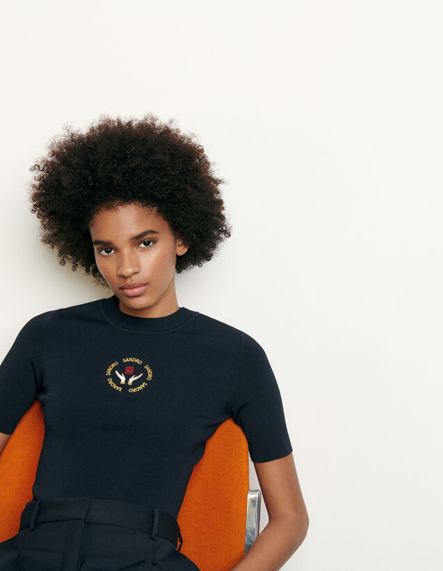 Knit top with embroidery : Spring Pre-Collection color Navy Blue