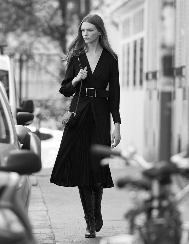 Long Draped Dress : Dresses color Black