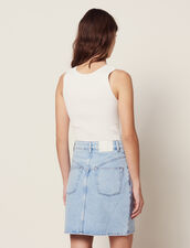 Short Denim Skirt With Topstitching : Skirts color Blue Vintage - Denim