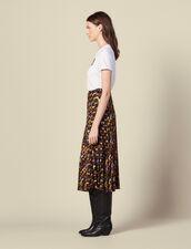 Printed pleated wraparound skirt : Skirts color Black