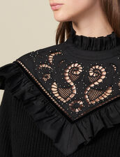 Sweater With English Embroidery Panel : Sweaters & Cardigans color Black