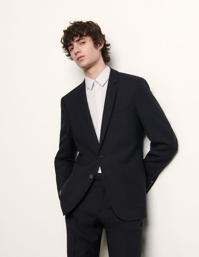 Slim-fit wool suit jacket : Spring Pre-Collection color Navy Blue