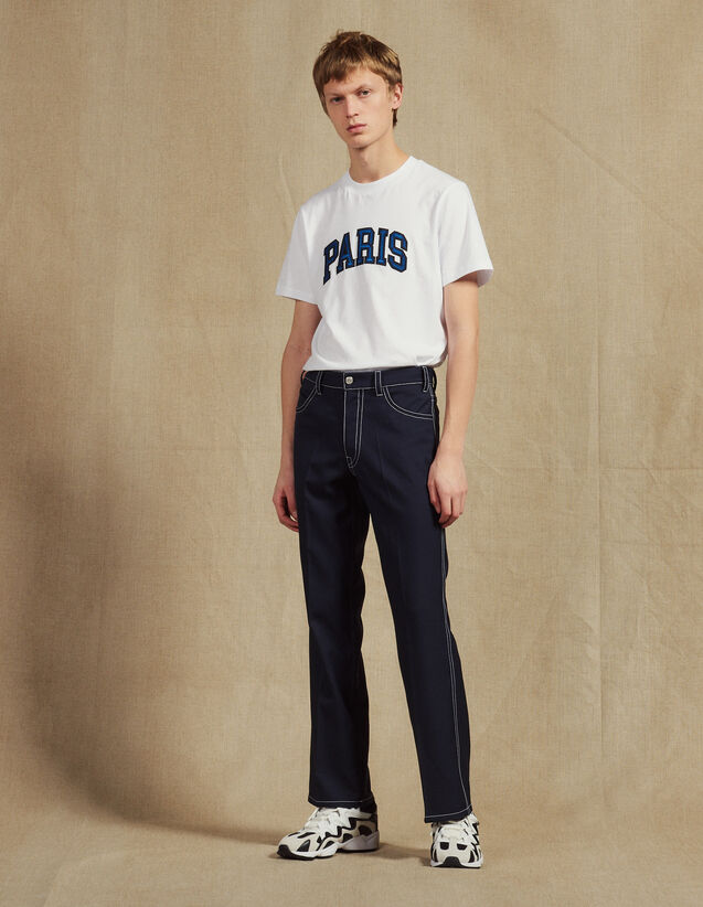 Pants With Contrasting Topstitching : Pants & Jeans color Navy Blue