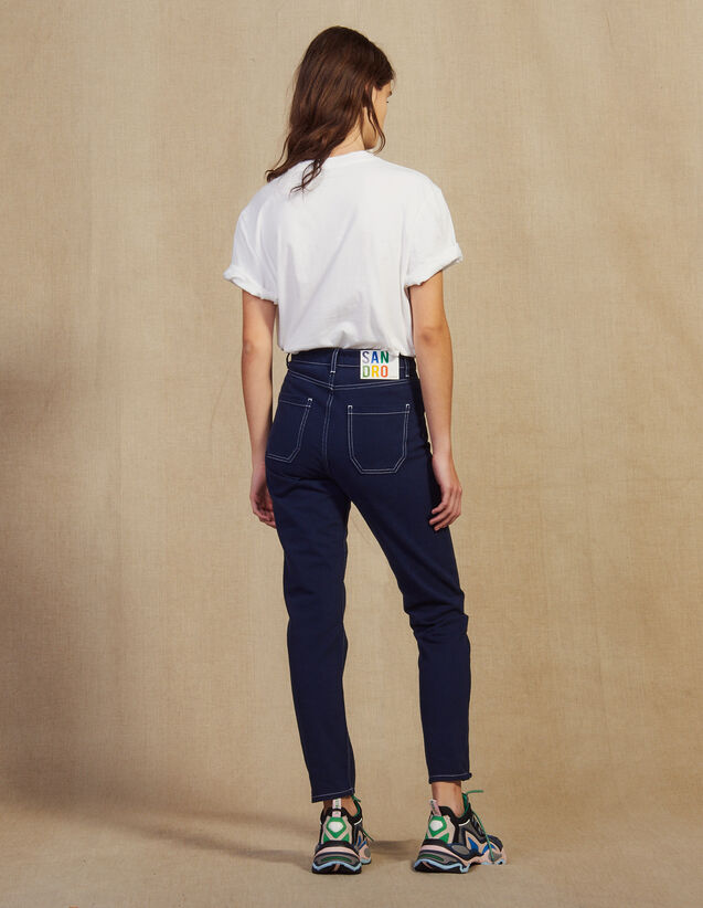 Jeans With Contrasting Stitching : Pants & Shorts color Navy Blue