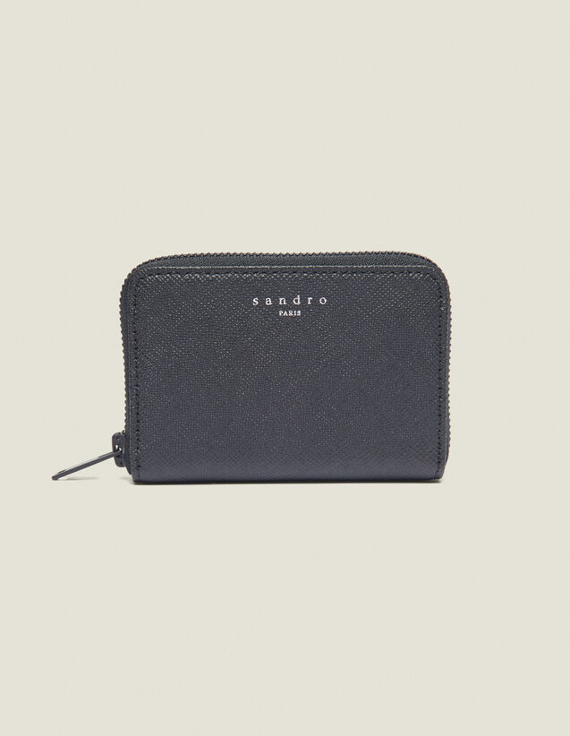 Saffiano Zipped Leather Card Holder : Leather Goods color Black