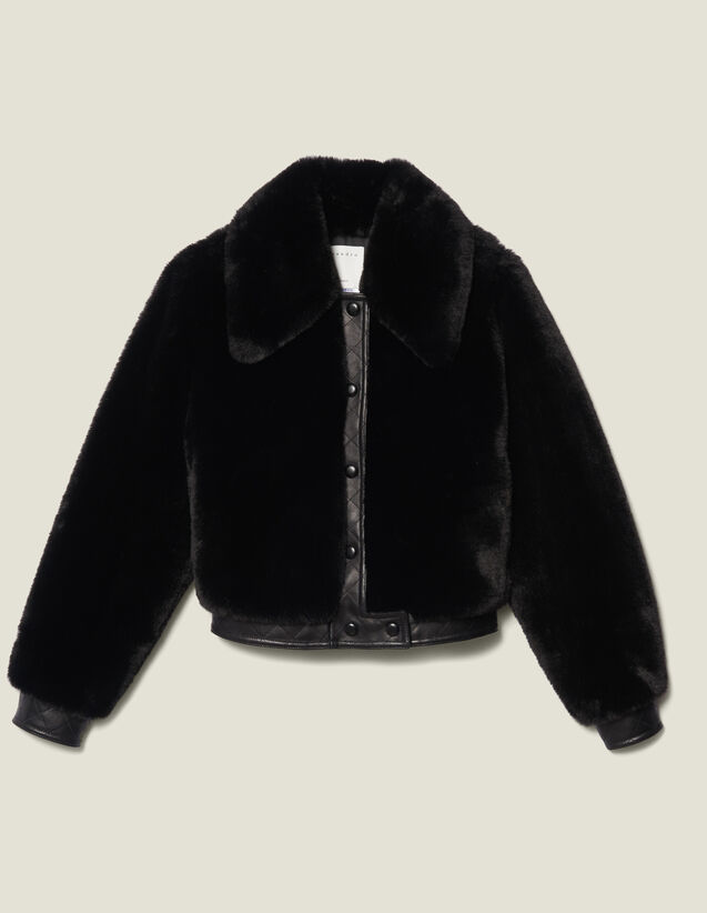 Faux Fur Bomber Jacket : Coats color Black