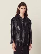 Fringed Leather Jacket : Jackets color Black