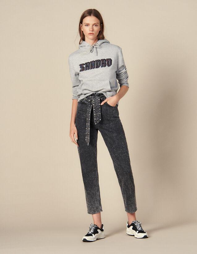 Acid Wash Jeans With Studded Belt : Jeans color Black