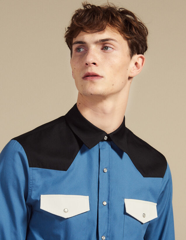 Colorblock Western-Style Shirt : Shirts color Blue