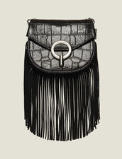 Fringed Pépita Bag, Small Model : Bags color Black