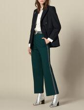 Wide-leg trousers with tricolour trim : Pants & Shorts color verde