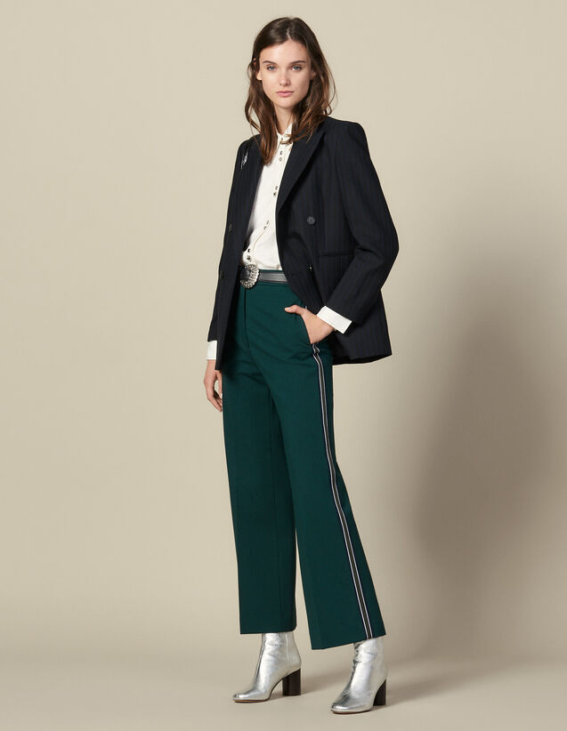 Wide-leg trousers with tricolour trim : Pants & Shorts color verde