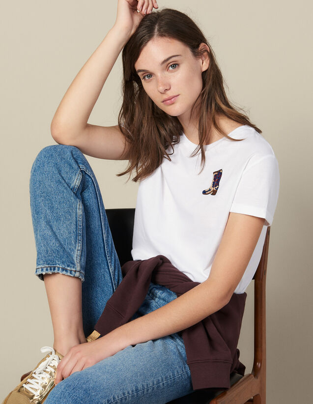 T-Shirt With Embroidered Patch : Tops & Shirts color white