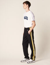 Jersey Jogging Bottoms With Striped Trim : Pants & Jeans color Black
