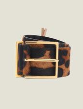 Printed Pony Effect Leather Belt : Belts color Leopard